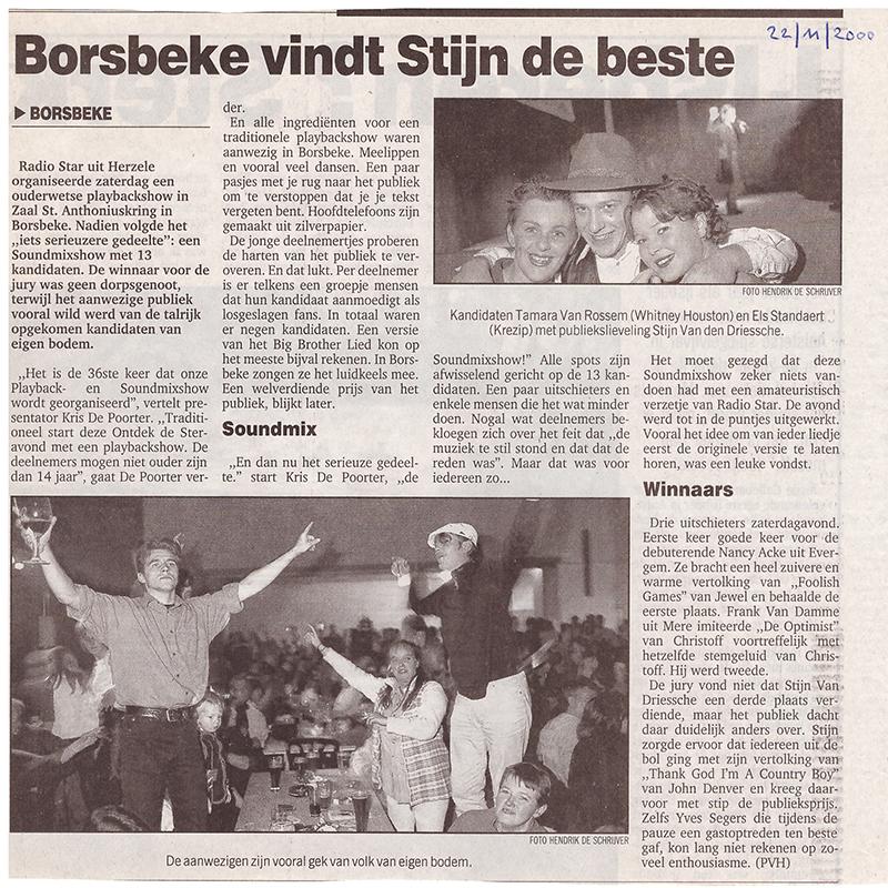 Stijn Van den Driessche wint de publieksprijs in 2000