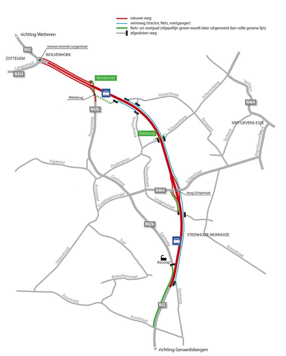 Nieuwe tracé van de N42