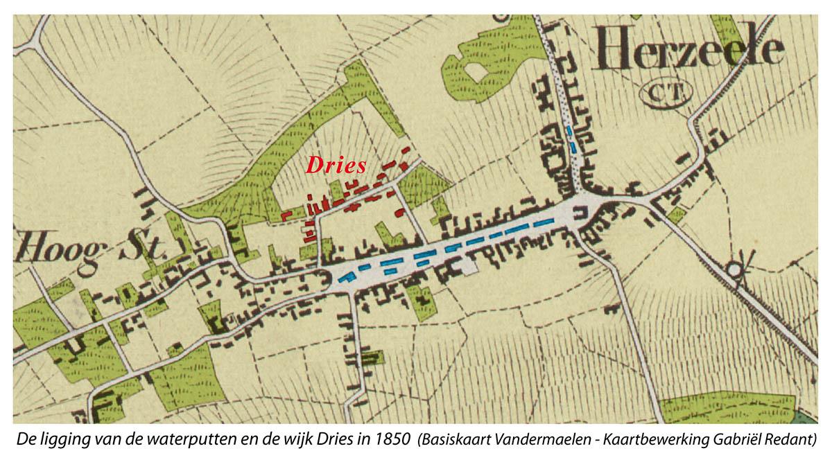 De ligging van de waterputten en de wijk Dries in 1850