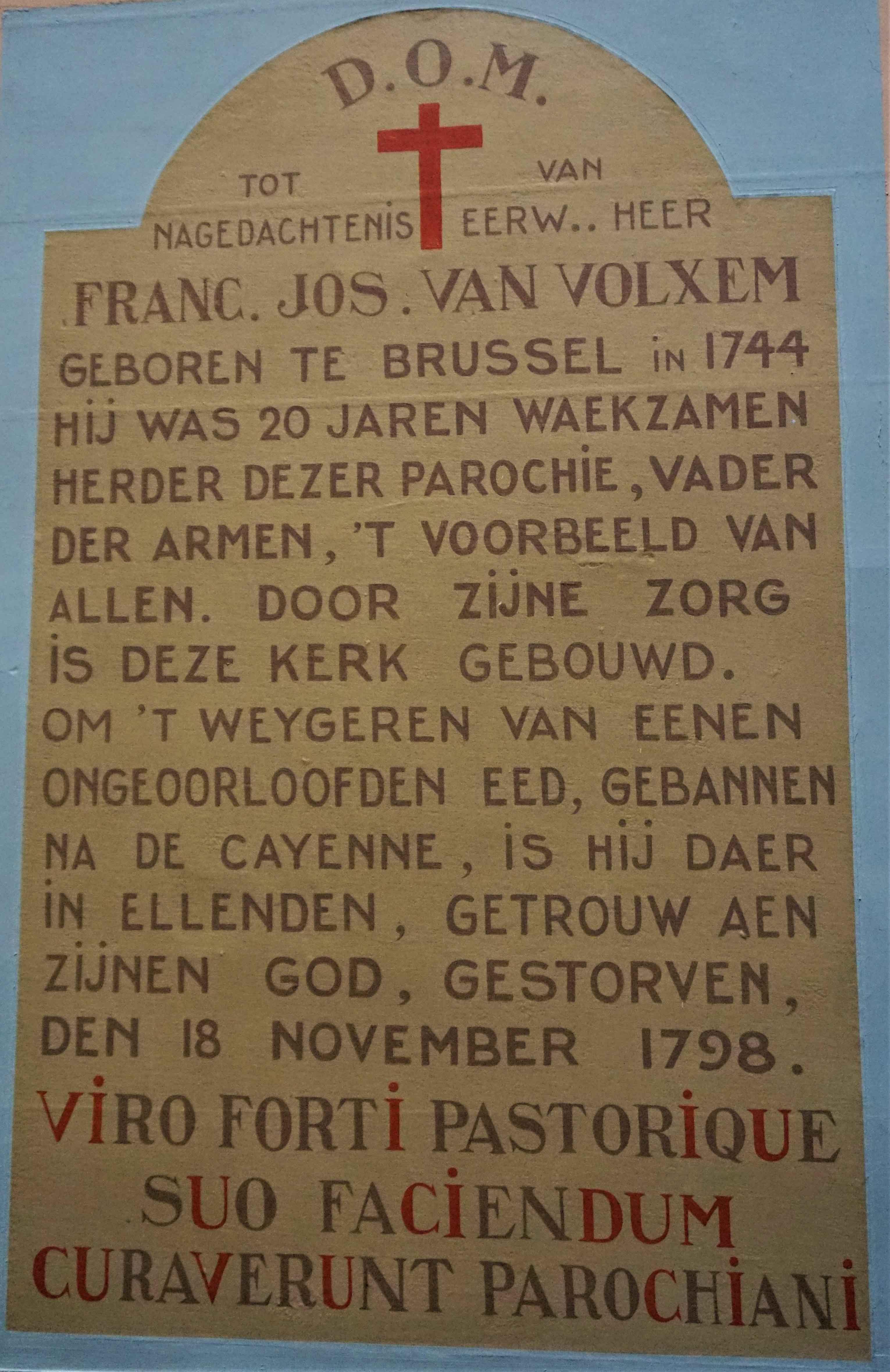 Gedenkplaat pastoor Van Volxem